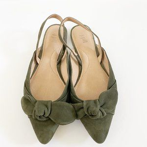J.jill Womens Flat Green Suede With Bow Open Back